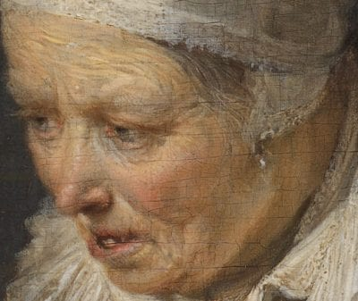 Detail ofHerring Seller and a Boyshowing mid-tones in the face of the old woman achieved by dark undermodeling, superimposed with translucent flesh tones and additional highlights