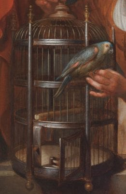 Detail of Young Woman Holding a Parrot showing the birdcage, an area that represents Dou's working method of painting in sequential planes from the rear to the front