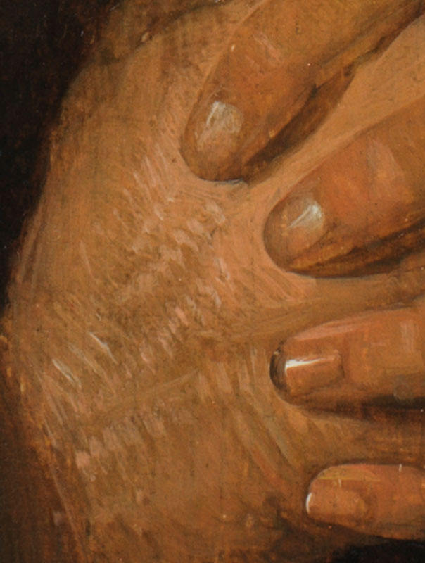 Detail of Hermit Praying showing hatching brushwork along the highlights of the figure's clenched hands