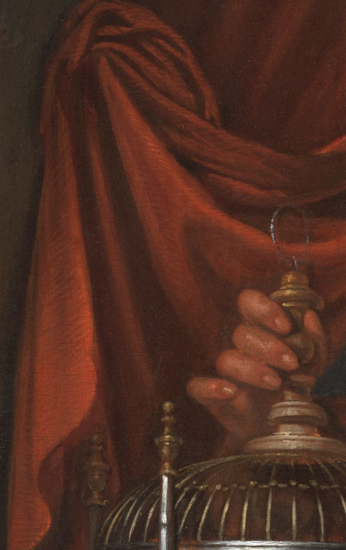 Detail ofYoung Woman Holding a Parrotshowing the hatching brushwork along the highlights of the draped curtain