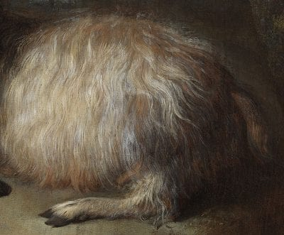Detail of Goat in a Landscape showing the complex brushwork achieved in rendering the plushness of wavy hair