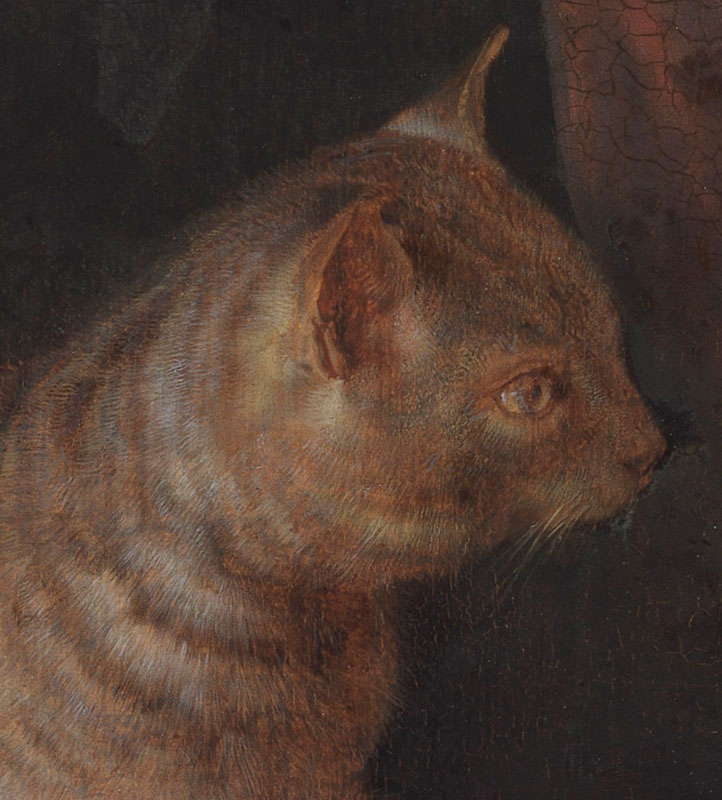 Detail of Cat Crouching on the Ledge of an Artist's Atelier showing the individual bristles and brushstrokes that make up the tabby's striped pattern