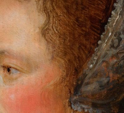 Detail of Portrait of a Lady in Profile showing individual strands of hair painted in flesh tones that overlay her upper temple