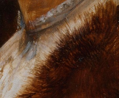 Detail of Portrait of a Lady in Profile showing the fur trim painted by dragging the brush back and forth in the adjacent paint