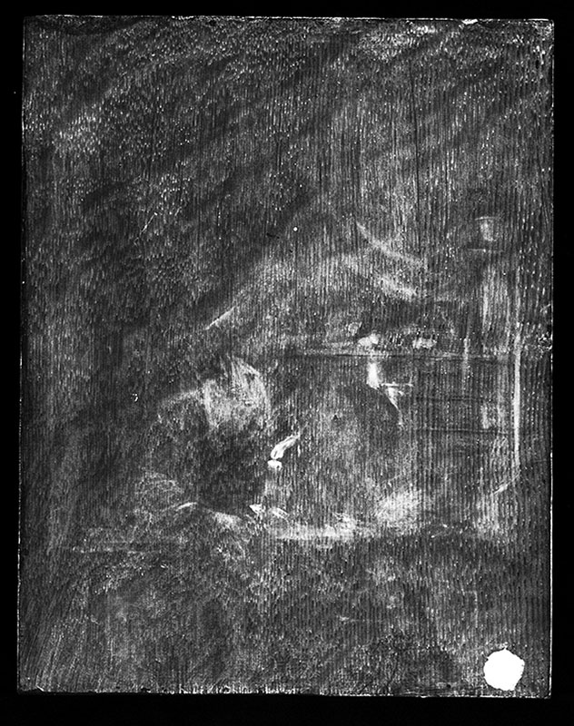 X-radiograph of Old Woman at a Niche by Candlelight showing the original flame of the oil lamp at the center right