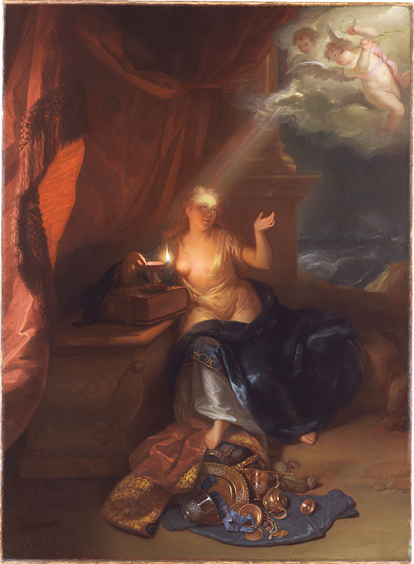 Godfried Schalcken, Conversion of Mary Magdalen, showing a comparabl, 1700,  The Leiden Collection, New York