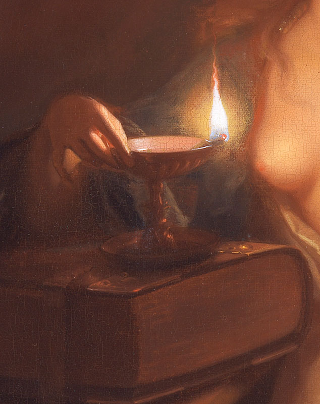 Godfried Schalcken,  Conversion of Mary Magdalen, detail of Conversi, 1700,  The Leiden Collection, New York