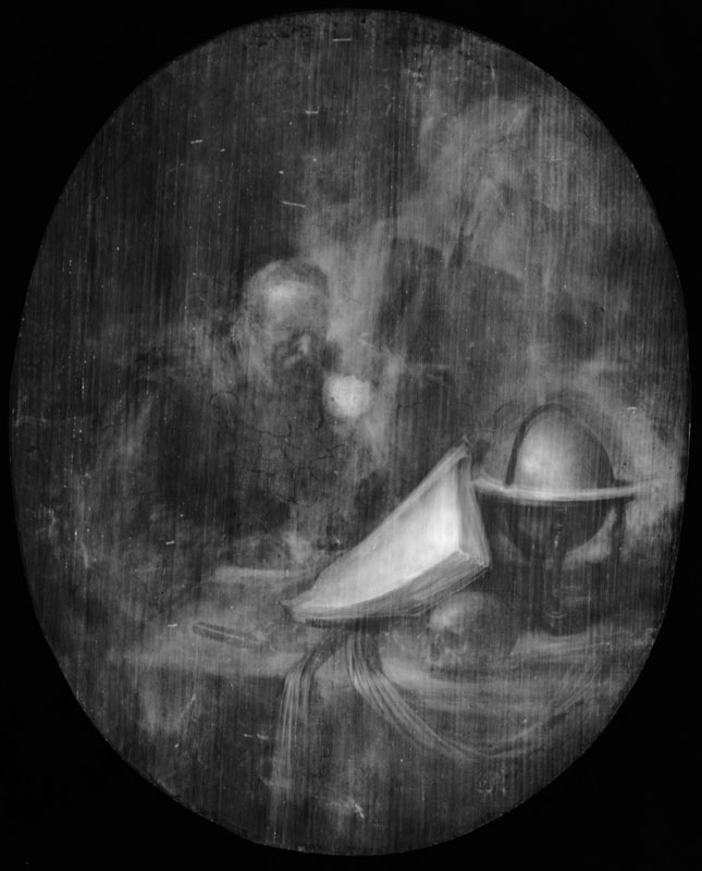 X-radiograph of Scholar Interrupted at His Writing showing an earlier easel in the background