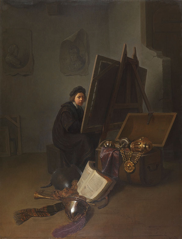 Circle of Rembrandt van Rijn, possibly Gerrit Dou,  An Artist in His Studio,  ca. 1630,  The Leiden Collection, New York