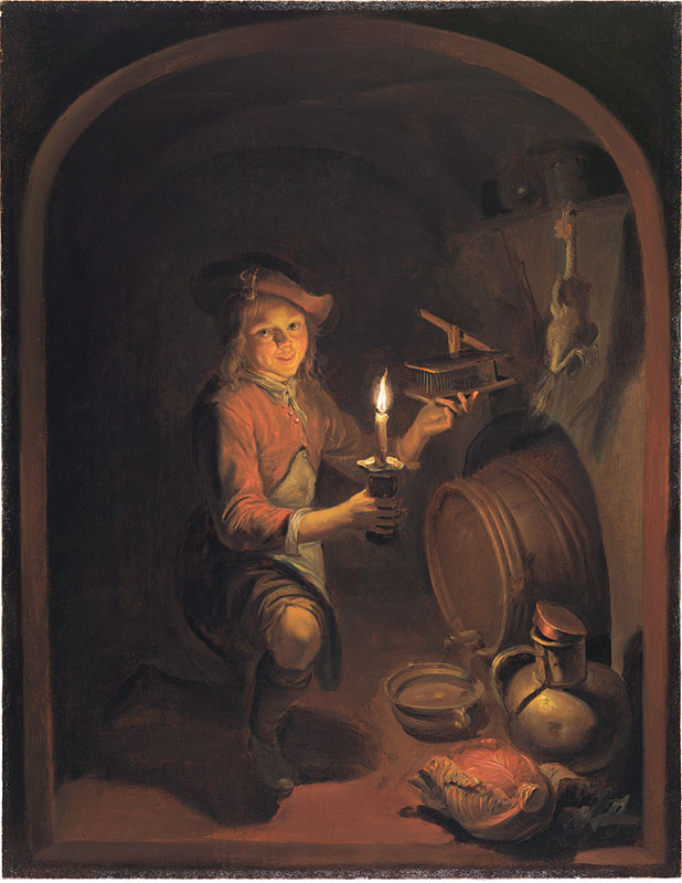 Dominicus van Tol,  Boy with a Mousetrap,  ca. 1660–64,  The Leiden Collection, New York