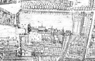 Detail of the Binnenhof, with the Stadhouderstuin, 1616, Collection Haags Gemeentearchief (Netherlands)