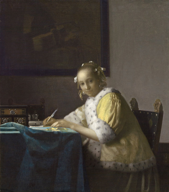 Johannes Vermeer,  Woman Writing, detail,  mid-1660s,  National Gallery of Art, Washington, D.C.