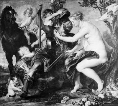 Peter Paul Rubens, Mars and Venus, ca. 1617, Formerly Stiftung Preußische Schlösser und Gärten Berlin-Brandenburg (lost)