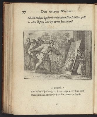 Apelles and the Cobbler, engraved emblem from Jo, 1613,