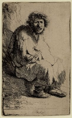 Rembrandt,  Beggar Seated on a Bank, monogrammed RHL and d, 1630, British Museum, London