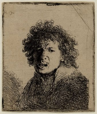 Rembrandt,  Self-Portrait with Mouth Open as if Shouting, mo, 1630, British Museum, London