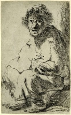 Jan Lievens,  Beggar Seated on a Bank (after Rembrandt), British Museum, London