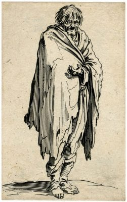 Jacques Callot,  Man in Rags from Le Baroni (1622–23), 1622-1623, British Museum, London