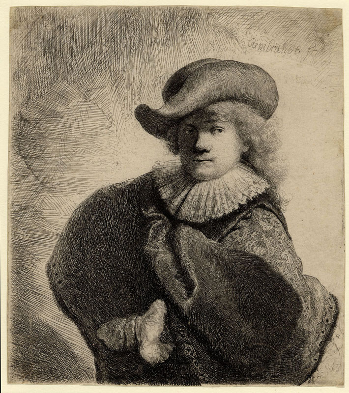 Rembrandt,  Self-Portrait in Soft Cap and Embroidered Cloak,, 1631,  British Museum, London