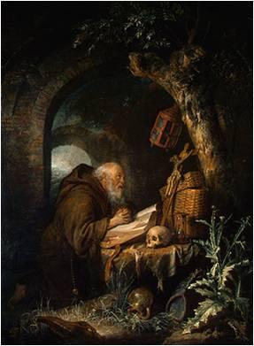 Gerrit Dou, Hermit in Prayer, ca. 1635, Gemäldegalerie Alte Meister, Dresden