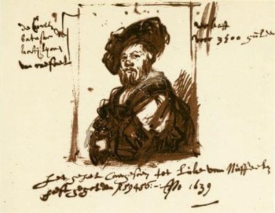 Rembrandt, Sketch of Raphael's Portrait of Baldassare Cas, 1639, Graphische Sammlung Albertina, Vienna