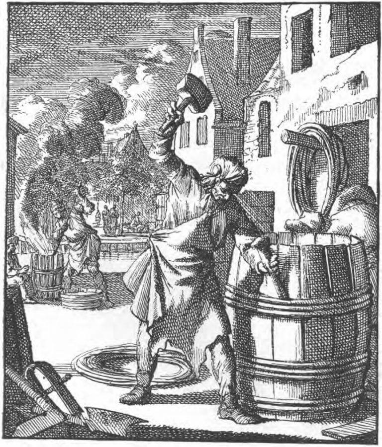 Jan Luyken, Kuiper(Cooper) fromHet Leerzam Huisraad, 1711.,