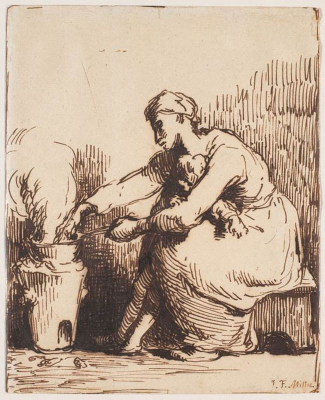 Jean-François Millet,  Young Mother Preparing the Evening Meal,  1848–50,  National Gallery of Canada, Ottawa