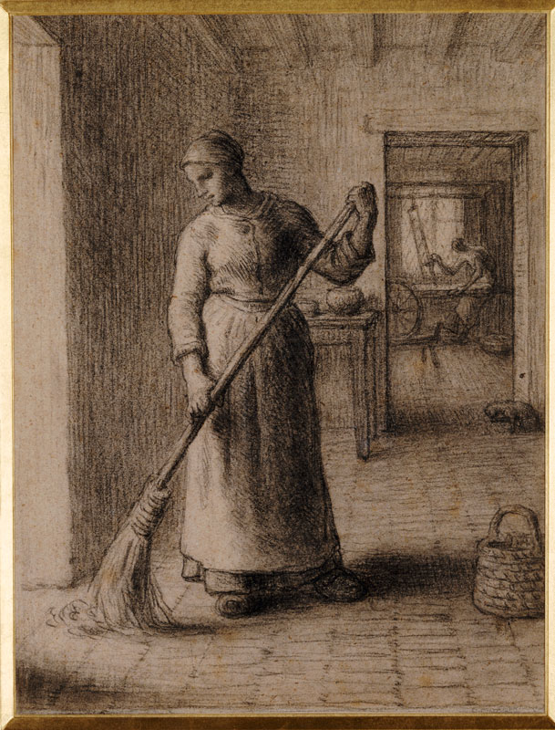 Jean-François Millet,  Woman Sweeping Her Home,  1850s,  Private collection. Christie's