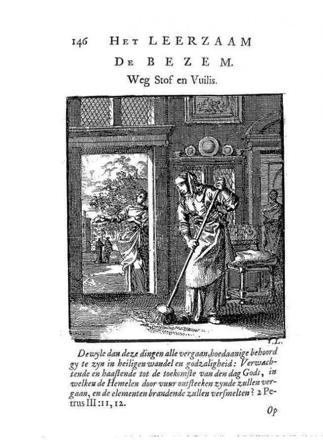 Jan Luyken, De bezem(Broom) fromHet Leerzam Huisraad, 1711,