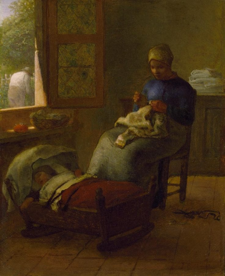 Jean-François Millet,  Woman Mending by Her Sleeping Child,  ca. 1855,  Chrysler Museum of Art, Norfolk, Virginia