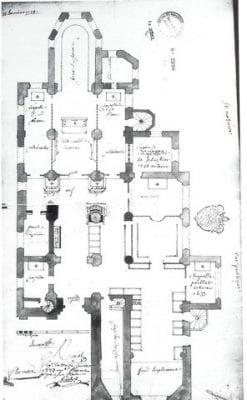 Plan, former Church of Notre-Dame du Châtel, Aut, 1773,