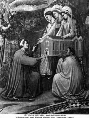 Giotto di Bondone, detail with Enrico degli Scrovegni from theLast, 1305, Scrovegni Chapel, Padua