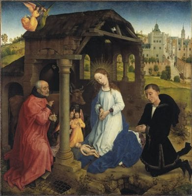 Rogier van der Weyden, Nativity with the Donor Pieter Bladelin, center , ca. 1445, Gemäldegalerie, Staatliche Museen zu Berlin