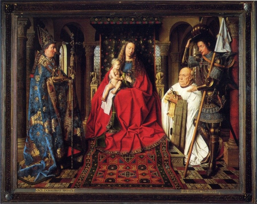 Jan van Eyck,  Virgin and Child with Canon Joris van der Paele, completed 1436, Groeninge Museum, Bruges