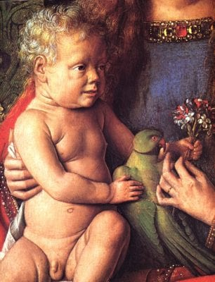 Jan van Eyck, detail of flowers and parrot from Virgin and Chi, completed 1436, Groeninge Museum, Bruges