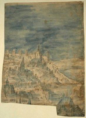 "Philips van den Bossche, Fragment of a Design for a ""View of Prague, ""ca. 1605, Göttingen, Kunstsammlung der Universität, Graphische Sammlung"