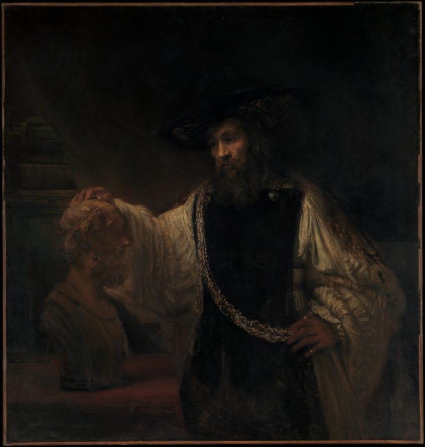 Rembrandt van Rijn, Aristotle with a Bust of Homer(here identified, 1653, The Metropolitan Museum of Art, New York