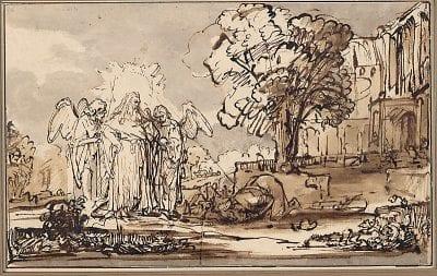 Ferdinand Bol (workshop/follower), Abraham Meeting the Lord and Two Angels, after 1646,  Graphische Sammlung Albertina,  Vienna