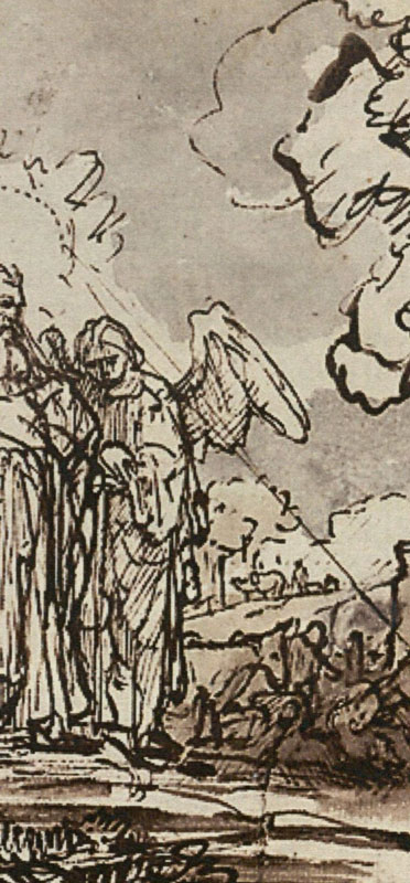 Ferdinand Bol (workshop/follower), Abraham Meeting the Lord and Two Angels, detail, after 1646,  Graphische Sammlung Albertina,  Vienna