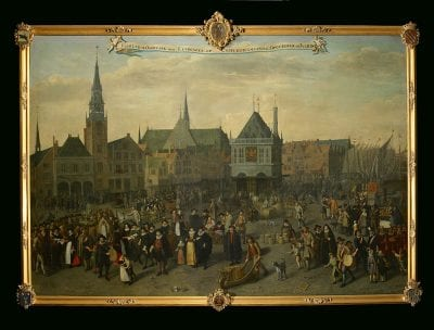 Adriaan van Nieulandt,  Dam Square in 1604 during the Last Procession of, 1633, Amsterdam Museum