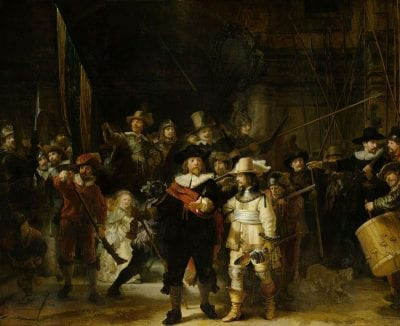 Rembrandt,  Company of Captain Frans Banninck Cocq and Lieut, 1642, Rijksmuseum Amsterdam, on loan from the city of Amsterdam (SA 7392)