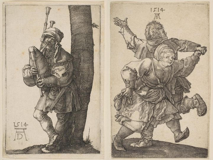 Albrecht Dürer,  Bagpiper, 1514, Metropolitan Museum of Art, New York; Albrecht Dürer,  Peasant Couple Dancing, 1514, Metropolitan Museum of Art, New York