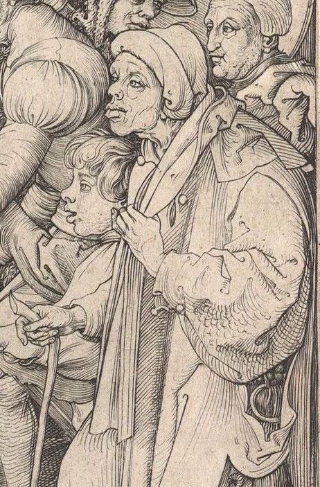 Martin Schongauer, Christ Carrying the Cross, detail(fig. 1),  ca. 1475–80,