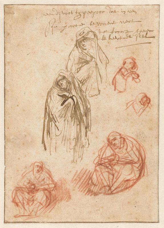 Rembrandt van Rijn, Sheet of Studies of Grieving Mary,  1635–36,  Rijksmuseum, Amsterdam