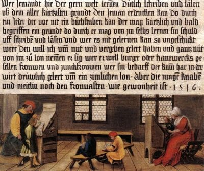 Hans and Ambrosius Holbein,  Signboard for a Schoolmaster (reverse), 1516,  Kunstmuseum, Basel