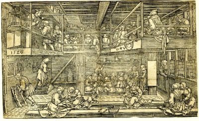 Dirk Jacobz. Vellert,  Schoolroom, 1526,  British Museum, London