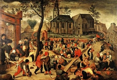 Maerten van Cleve,  Children's Games,  1560s, Musée Municipal, Saint Germain-en-Laye, Ducastel collection