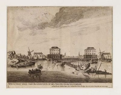 Pieter Nolpe (1613/14–1652/53), etcher, and Jacob Esselens (1627–1687), draftsman,  Blockhouses on the Amstel, second state,  ca. 1650–54,  Stadsarchief, Amsterdam