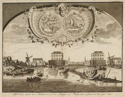 Bernard Picart (1673–1733),  Blockhouses on the Amstel, ca. 1711, Stadsarchief, Amsterdam