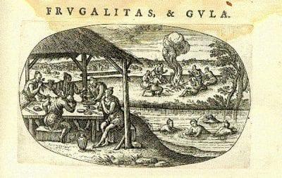 Pieter van der Borcht, Frugalitas and Gula, from Aurei Saeculi, 1596, British Library, London